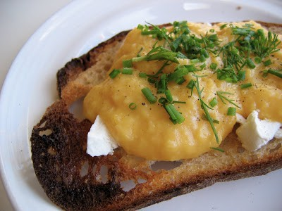 decadent scrambled eggs on toast