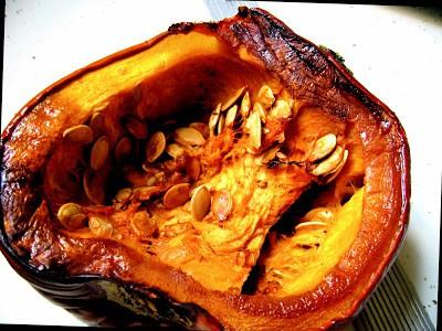 shot of baked pumpkin half