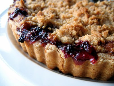 close up of crust on crumble tart