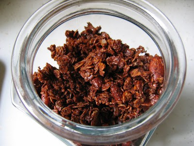 chocolate granola in a jar