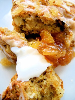 opened up scone with sour cream and marmalade