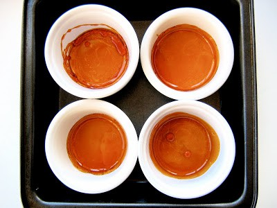 top down shot of creme caramels