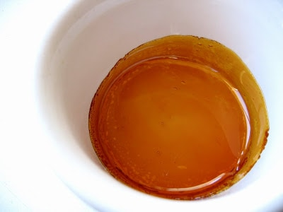 top down shot of creme caramel mix in a ramikin