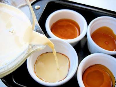 creme caramel mix poured into ramikins
