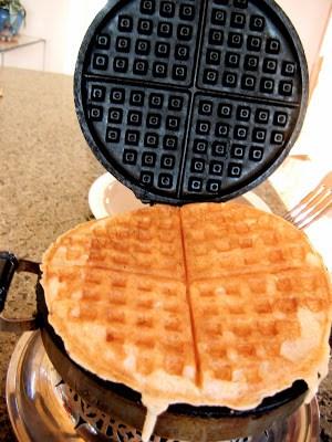 flaxseed waffle in waffle iron