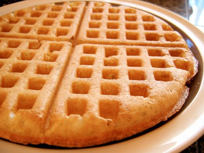 top down shot of sourdough waffle