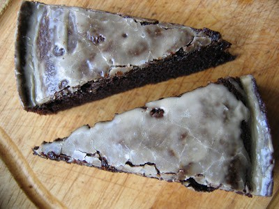 top down shot of chocolate cake slices