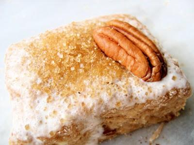 close up of a pecan scone