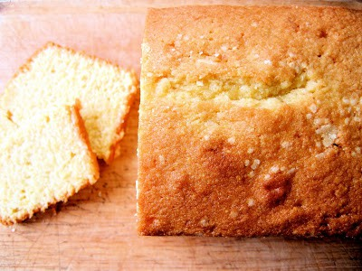 top down shot of poundcake
