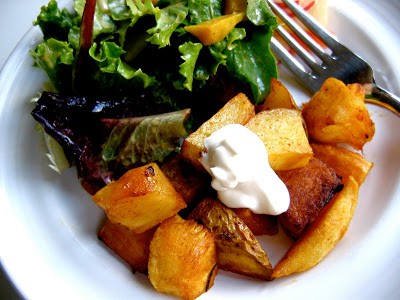 oven roasted potatoes and parsnips on a plate