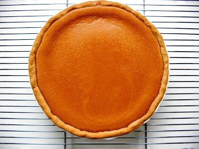 top down shot of pumpkin tart