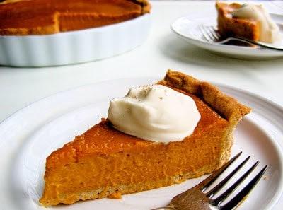 slice of pumpkin tart on a plate