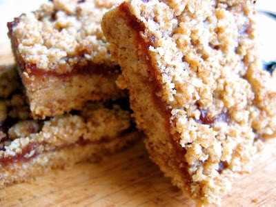 stack of fruit crumble squares