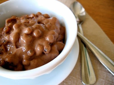 bowl of vegan chocolate tapioca pudding