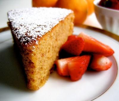 slice of gluten free lemon almond cake