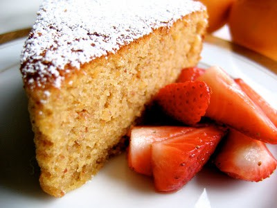 close up of lemon almond cake