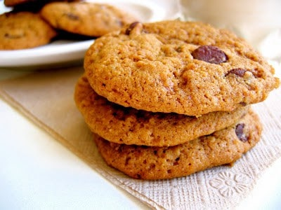 stack of almond pulp chocolate chip cookies
