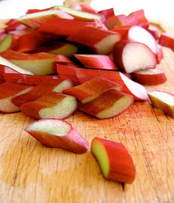 sliced rhubarb on a chopping board
