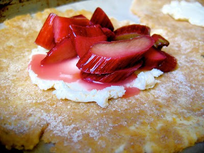 sliced rhubarb on pastry