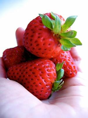 handful of fresh strawberries
