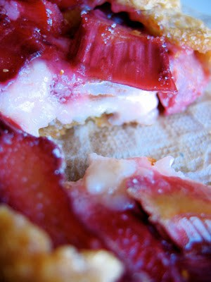 close up of rhubarb galette