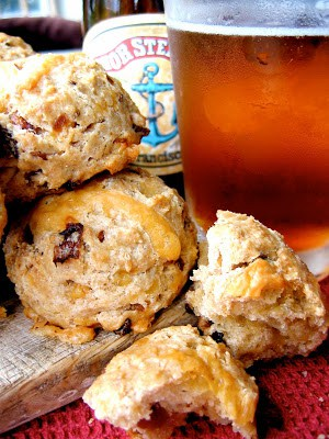 a stack of beer scones