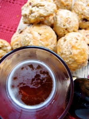 top down shot of bacon beer scones