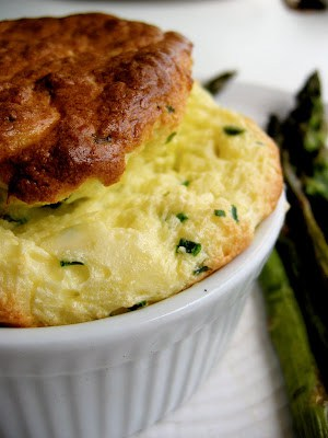 close up of cheese souffle