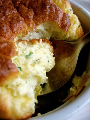 close up of souffle with spoon