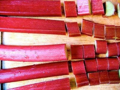 top down shot of chopped rhubarb