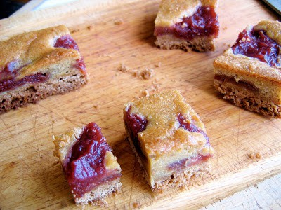 rhubarb squares on a chopping board