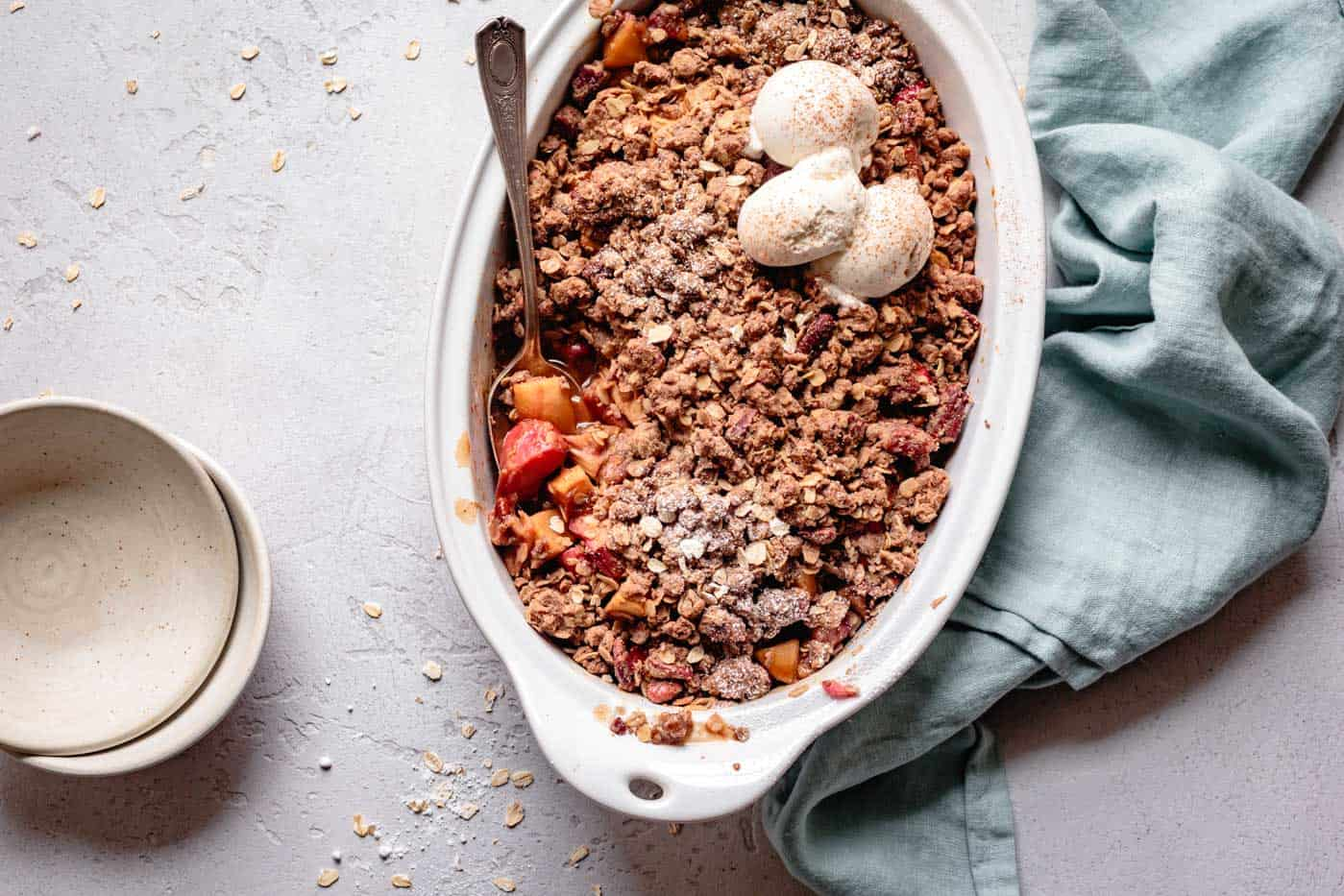 rhubarb apple ginger crumble in a baking dish