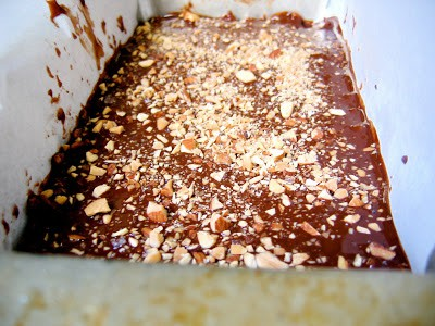 rice crispy mix in a baking tray