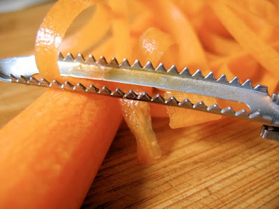 carrots being peeled