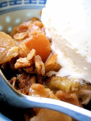 bowl with apple rhubarb crisp