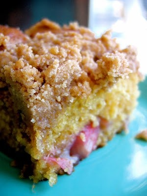 close up of Rhubarb Coffee Cake slice