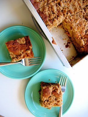 top down shot of rhubarb coffee cake on plates