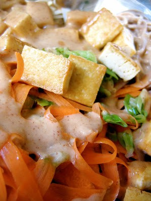 close up of tofu and shredded carrots