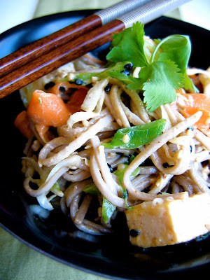 sesame soba noodles in a bowl