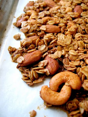 nuts on a baking tray
