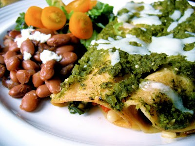 summer vegetable enchiladas on a plate