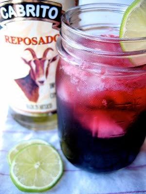 jar of hibiscus tequila spritzer