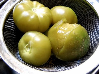 tomatillos in a sieve