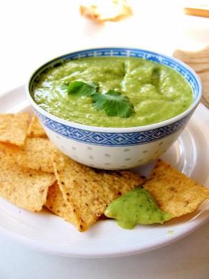 bowl of avocado tomatillo salsa