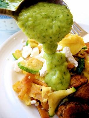 salsa poured onto veggies