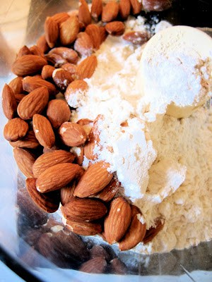 almonds and flour in a bowl