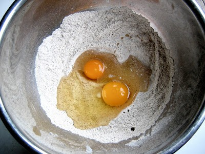 eggs and flour in a bowl