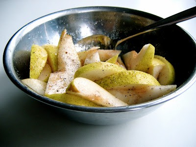 slices of pear in a bowl