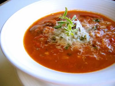 close up of tomato soup