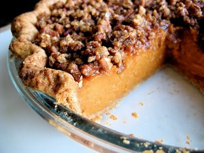 close up of sweet potato pie